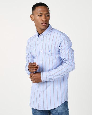 Polo Mens Elliott Oxford Stripe Signature Ls Shirt Light Blue