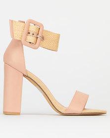 Miss Black Saria Ankle Buckle Block Heels Pink
