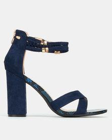 Miss Black Statice Ankle Detail Block Heels Navy