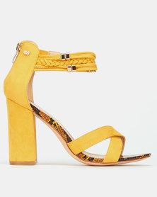 Miss Black Statice Ankle Detail Block Heels Yellow