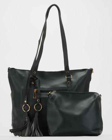 Blackcherry Bag Pocket Detail Tote Bag Black