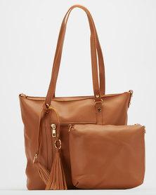 Blackcherry Bag Pocket Detail Tote Bag Tan
