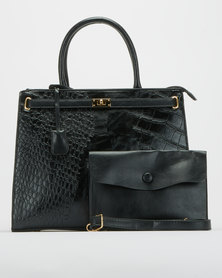 Blackcherry Bag Faux Croc Shoulder Bag Black