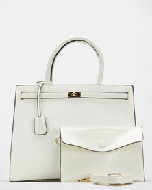 Blackcherry Bag Faux Croc Shoulder Bag White