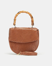 Blackcherry Bag Tortilla Bamboo Top Handle Crossbody Bag Brown