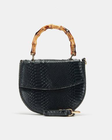 Blackcherry Bag Bamboo Top Handle Crossbody Bag Black