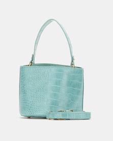 Blackcherry Bag Faux Croc Bucket Crossbody Bag Blue
