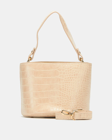 Blackcherry Bag Faux Croc Bucket Crossbody Bag Beige