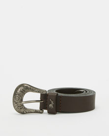 Polo Belts Jolene Leather Western Buckle Belt Brown