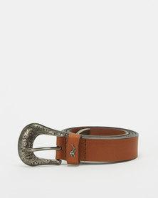 Polo Belts Jolene Leather Western Buckle Belt Tan