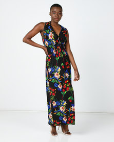 Utopia Floral Knit Maxi Dress Black/Blue