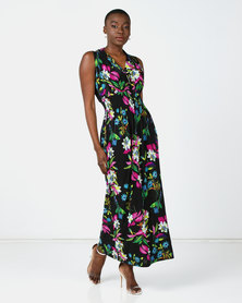 Utopia Floral Knit Maxi Dress Black/Purple