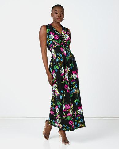 Utopia Floral Knit Maxi Dress Black/Purple
