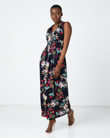 Utopia Floral Knit Maxi Dress Navy/Multi