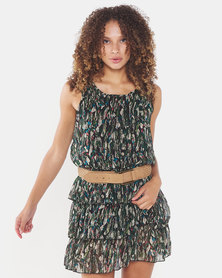 Utopia Tiered Dress With Belt Green