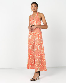 Utopia Retro Print Jumpsuit Orange