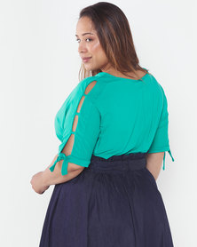 Slick Plus Sofia Slat Sleeve Top Jade