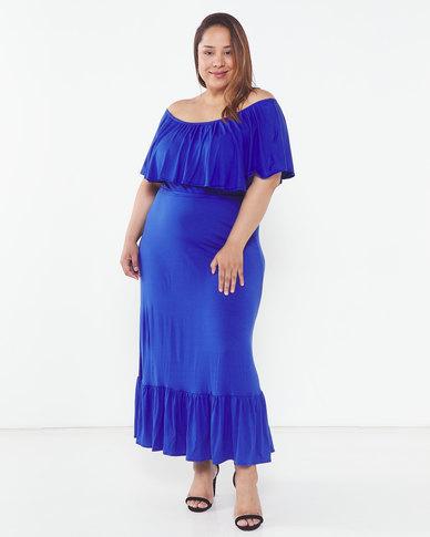 Slick Plus Aegean Anja Off Shoulder Dress Blue