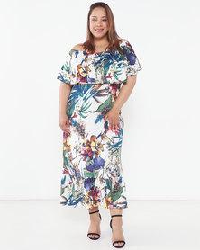 Slick Plus Botanical Gardens Anja On/Off Shoulder Dress Multi