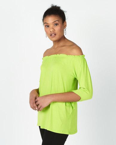 Slick Emma Boho Top With Tie Sleeves Lime