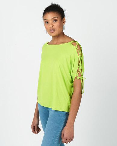 Slick Fidelia Lace Up Cold Shoulder Top Lime