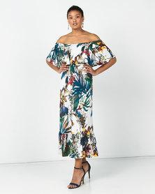 Slick Botanical Gardens Anja On/Off Shoulder Dress Multi