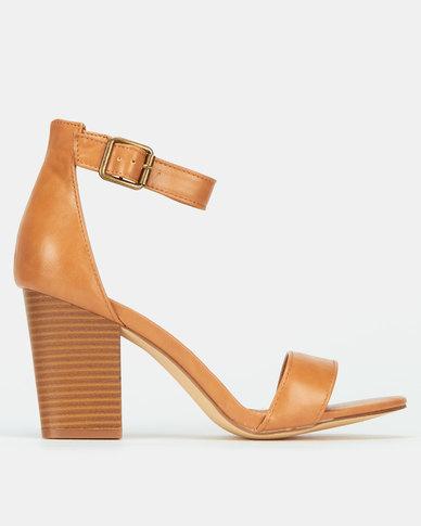 Madison Kelsey Block Sandal Heels Tan