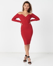 Sissy Boy Queendom Long Sleeve Bardot Mini Deep Red