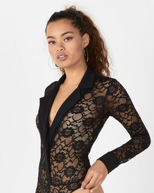 Sissy Boy Boity Collared Lace Bodysuit Black