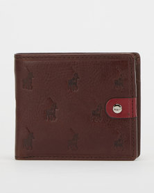 Polo Monogram Leather Billfold with Coin Section Brown