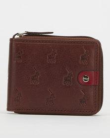 Polo Monogram Leather Zip Around Wallet Brown