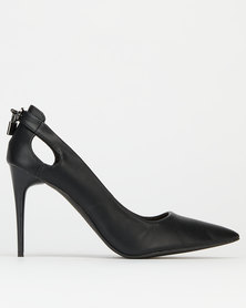 Madison Cristina Heel Detail PU Courts Black