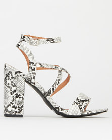 Madison Daniella Strappy Block Heel Sandals White Cobra