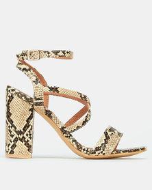 Madison Daniella Strappy Block Heel Sandals Beige Cobra