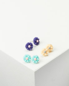 Jewels and Lace Flower Earrings 3 Pack Multi