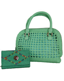 Fino Cane Woven Bag Soft PU Rainbow Decoration Purse Value Pack-Green