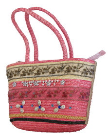 Fino Exotic style Straw Beach Bag & Shopping Bag - Pink