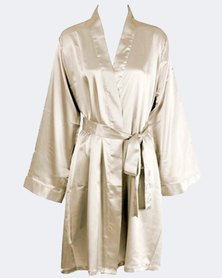 TeMooi Long Sleeve Satin Robe Champagne
