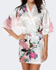 TeMooi Long Satin Robe Floral Peacock Print - White