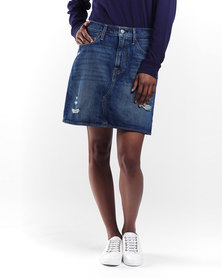 Levi's ® High Rise Deconstructed Iconic Skirt Middle Avenue Blue