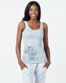Ecopunk Athleisure vest cotton rib with mandala print GREY