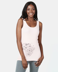 Ecopunk Athleisure vest cotton rib with mandala print PINK