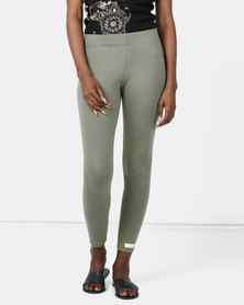 Ecopunk Athleisure legging cotton lycra OLIVE