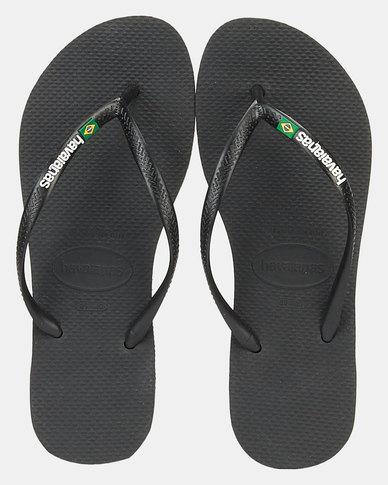 Havaianas Slim Brazil Flag & Name Flip Flop Black