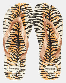 Havaianas Top Animals Tiger Flip Flop Beige/Rose Gold