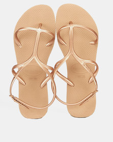 Havaianas Allure Tbar Cross Toe Sandals Rose Gold
