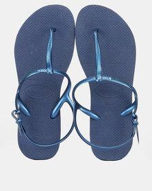 Havaianas Freedom Slim Tbar Back Strap Sandals Navy Blue