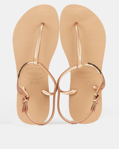 Havaianas Freedom Slim Tbar Back Strap Sandals Rose Gold