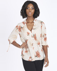 Contempo Printed Rouched Sleeve Top Stone