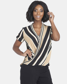 Contempo Stripe Wrap Top Stone Multi